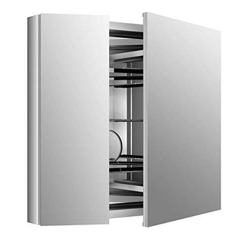 Cabinet Flat Medicine Mirror Frameless (KOHLER 99009-SCF-NA Verdera Aluminum Medicine Cabinet with Adjustable flip-Out Flat Mirror, 34