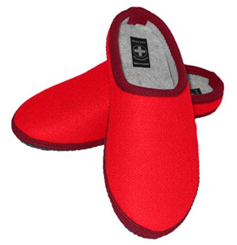 aveente - Zuecos de Terciopelo para mujer Red (Felt)