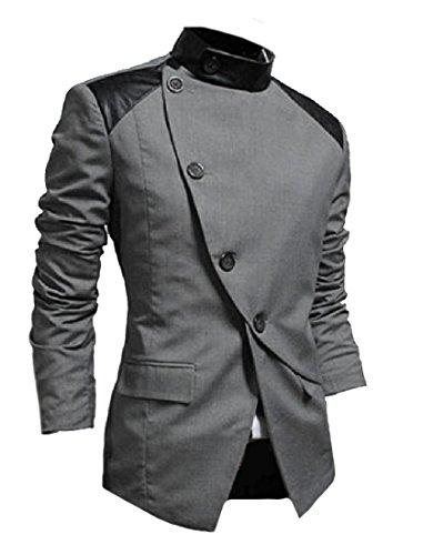 [해외]SportsX 남성 비대칭 헴 오블리크 플래킷 스탠드 업 칼라 블레이저 코트 / SportsX Men Asymmetric Hem Oblique Placket Stand Up Collar Blazer Coats