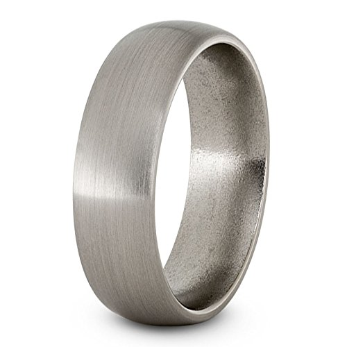 Satin Titanium 7mm Comfort-Fit Dome Wedding Band, Size 12.5 by The Men's Jewelry Store (Unisex Jewelry) (Image #3)