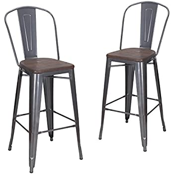 this item joveco 30 inches metal barstool with full back and wood seat set of two gunmetal wholesale price available