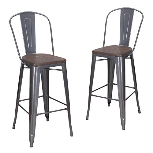 Joveco 30 Inches Metal Barstool with Full Back