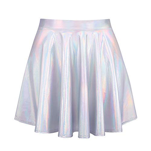 Shiny Metallic Sexy Costume (HDE Women's Shiny Liquid Metallic Holographic Pleated Flared Mini Skater Skirt (Holographic, Large))