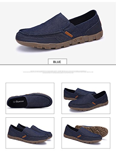On Weeding Canvas Walking SANBANG Slip Blue Boat Driving for 2 Flat Loafers Outdoor Men's Shoes PqXEvwXfr