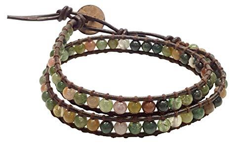 (Infinity Jasper 2 Wrap Bracelets Choker Woven Leather Necklace 2 in 1, Men Bracelet, Women Bracelet, Teengirls)