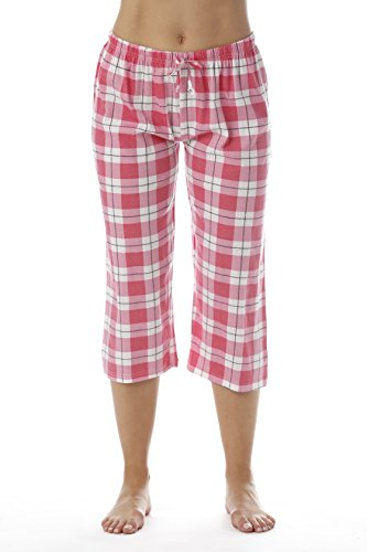 (Just Love Womens Pajama Plaid Capri Pants Sleepwear 6331-10018-PNK-M Pink)