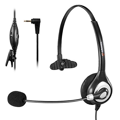 Arama Telephone Headset with Microphone Wired Phone Headset for Panasonic Cordless Phones with 2.5mm Jack Plus Many Other DECT Phones Polycom Grandstream Cisco Linksys SPA Zultys Gigaset-Mono