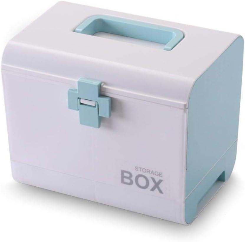 Aid Kit Inicio Kit de primeros auxilios Medicina caja de almacenaje de contenedores de plástico Kit de emergencia multi-capa portátil de gran capacidad Medicine Chest (color : Azul)