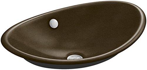 KOHLER K-5403-P5-KA Iron Plains Wading Pool Above Counter Oval Bathroom Sink with Iron Black Painted Underside, 20.75