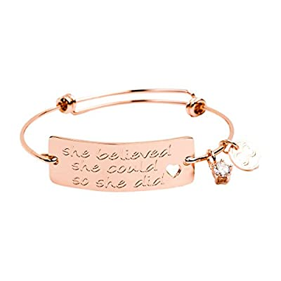 "Expandable Charm Bracelet ""She Believed She Could So She Did"", Inspirational Bangle, Perfect Gift for Her"