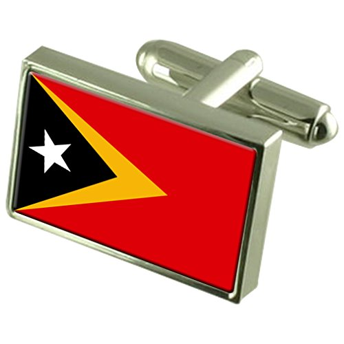 Timor-Leste Sterling Silver Flag Cufflinks by Select Gifts
