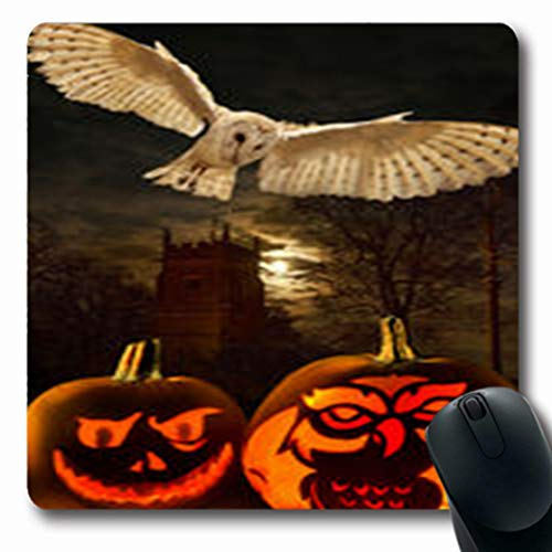 Pandarllin Mousepads Scary Halloween Night 31St October Eve All Wildlife Barn Holidays Church Oblong Shape 7.9 x 9.5 Inches Oblong Gaming Mouse Pad Non-Slip Rubber Mat]()
