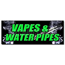 "48"" VAPES & WATER PIPES DECAL sticker bong head shop e cigs weed smoke vapor"