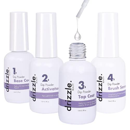 Dip Powder Liquid Set Dip Powder Activator Base Coat Top Coat and Dipping Powder Brush Saver, 4pcs 0.5oz for Dip Powder Nail Kit, Drizzle Dip Powder Liquid for Starter, Nail Manicure Nail Powder Kit