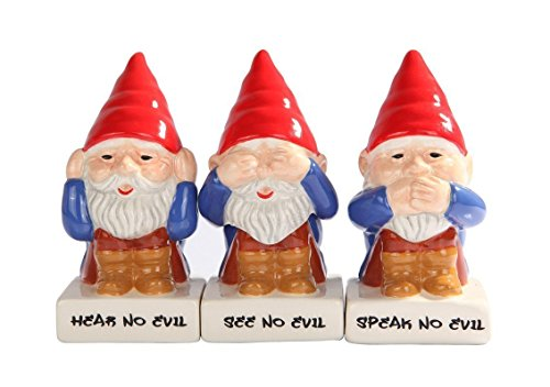 (Cute Gnomes See Hear Speak no Evil Ceramic Salt Pepper Shakers And Toothpick Holder Attractives Trio!, multi-colored)