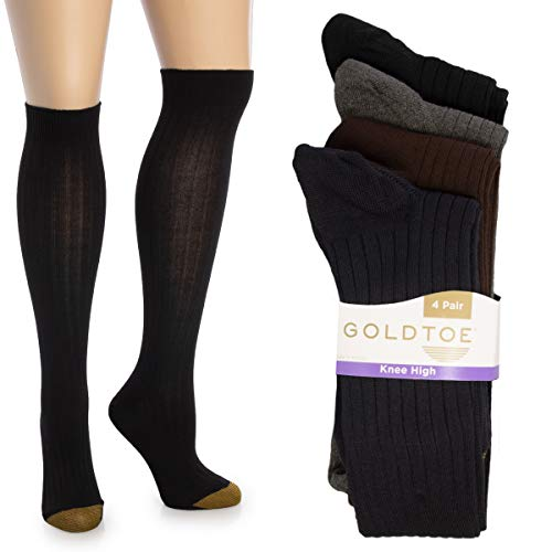 Gold Toe (4 Pairs) Womens Socks, Knee High Socks, Cute Socks, Extra Long Socks For Women, Girls, Ladies, Size 9-11, Pack ()