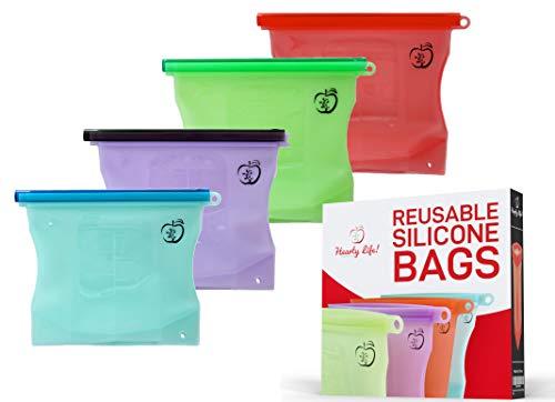 Reusable Sandwich bags, Food Storage bags,Lunch/snack bag, Freezer bag, Sous Vide Eco friendly Silicone alternative to plastic ziploc