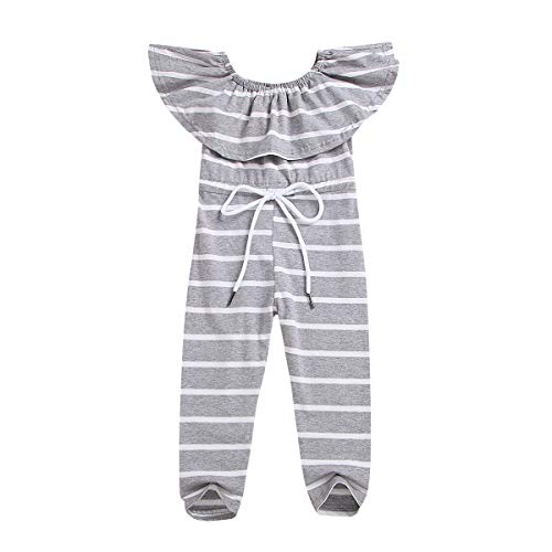 Baby Girls Boys Summer Bodysuit Infant Short Outfit Set Newborn Gray and White Stripe Sleeveless Romper Jumpsuit Clothes (Gray and White, 2-3 T)]()