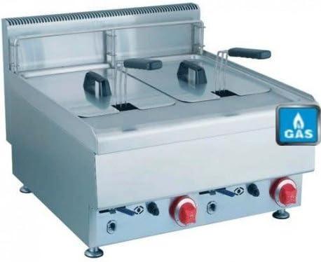 Freidora doble Gas – acero inoxidable – 2 x 10 L) – 12 kW – Neuve – equipementpro: Amazon.es: Hogar