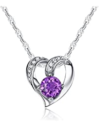 Ideal Gifts Sterling Silver and Natural Gemstone Heart Style Pendant Necklace,18""
