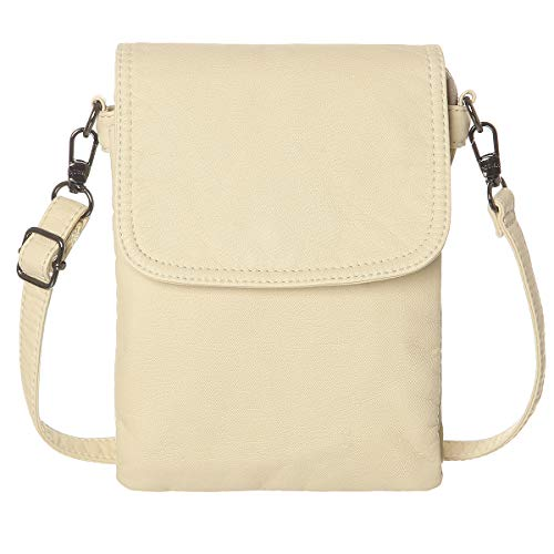 Beige Cell Phone - AOCINA Mini Crossbody Cell Phone Purse Credit Card Slots Small Crossbody Bag for Women (Beige)