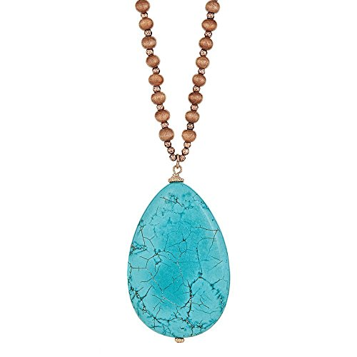 [Handmade Pear Shape Natural Stone Pendant Necklace with Color Wood Beads] Brown-Turquoise ()