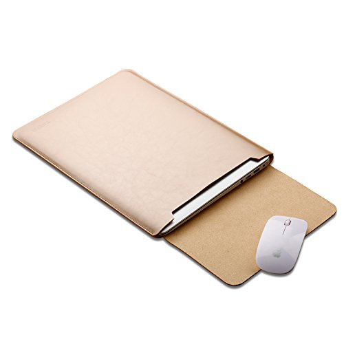 Eleoption Microfiber Soft Leather Laptop Sleeve Slim Case Cover Integrated Mousepad for MacBook 12