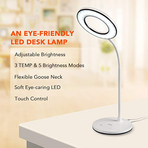 Miady LED Desk Lamp Eye-Caring Table Lamp, 3 Color Modes with 4 Levels of Brightness, Dimmable Office Lamp with Adapter, Touch Control Sensitive, 360° Flexible by Miady (Image #1)