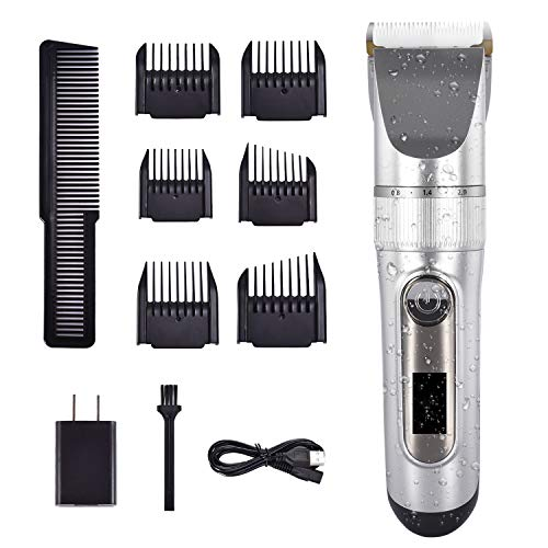 Cosyonall Hair Clippers for Men, Professional Cordless Beard Trimmer IPX7 Waterproof, USB Rechargeable Hair Cutting Kit with LED Display for Baber, Salon, Home