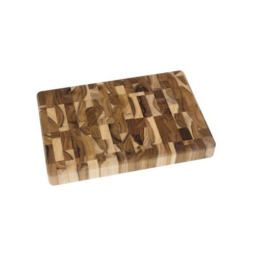 Lipper International 7218 Teak Wood End Grain Kitchen Chopping Block and Cutting Board, Small, 12