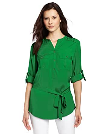 Calvin Klein Women's Solid Tunic With Self Belt, Emerald, X-Small