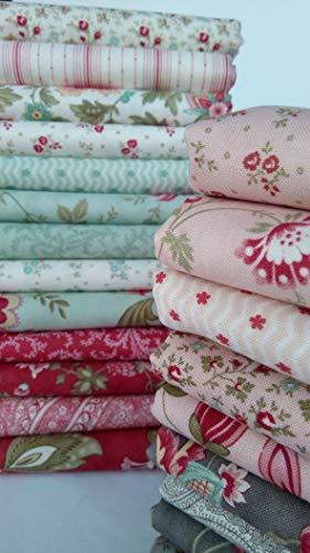 (Porcelain 3 Sisters Moda Fabric Shabby Chic Cotton Quilting Fabric Moda Fabrics - 22 Fat Quarters Bundle ~ 5.5 Yards Total )