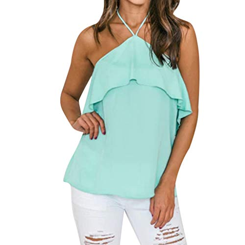 Yezijin_Women's Wear Sexy Blouses for Women Plus Size,YEZIJIN Women's Casual Ruffle Sleeveless T Shirts Lose Tank Tops Green
