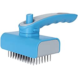 Solofish Pet Brush Self Cleaning Slicker Brush Pet Deshedding Tools Dog or Cats Grooming Brush, Perfect for Dogs & Cats with Long Hair ( Blue)