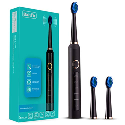 Sonic Electric Toothbrush Clean as Dentist Rechargeable 1 Time Charge 30 Days Use 5 Modes Waterproof 3 Replacement Heads with Smart Timer Black