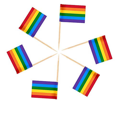 (LIGONG 200 Pcs Rainbow Flags Toothpicks Cupcake Toppers for Gay Pride, Home Decor and Party)