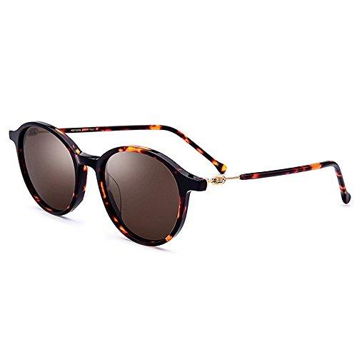 Sol Marrón Gafas Sol UV Protección Fibra Playa Pequeñas de Flor Libre Pesca de de Personalidad Marco Acetizada de Gafas Conducción Color Lente Mujeres al Redondas Marrón Polarizada Aire tCfFx5wq