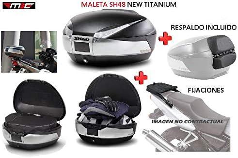SHAD Kit BAUL Maleta Trasero SH48 Titanium litros + FIJACION + Respaldo Pasajero Regalo - Honda CB500X 2013-2018