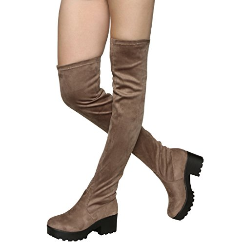 Stretch Platform Thigh Boot - ShoBeautiful Womens Thigh High Platform Boots Sexy Chunky Block Heel Stretch Pull on Over The Knee Tall Boots Taupe 10