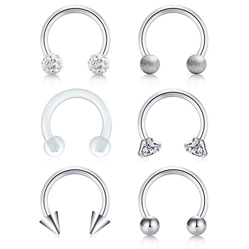 Cartilage Right Earring - FECTAS 16G Nose Septum Horseshoe Rings Surgical Steel Tragus Helix Conch Cartilage Earrings Hoop Lip Rings Medusa Monroe Piercing Jewelry for Women Men