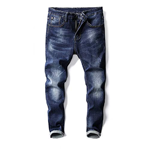 Hommes Élastique bleu Trende Fit Denim Pantalons Jeans Crayon Slim Little Oudan Fashion Pants Feet New Bleu Mens xIwTzZcXq