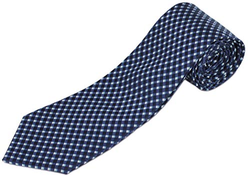 Extra Long Navy Tie with Blue and White Diamonds