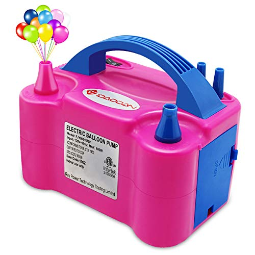 IDAODAN Portable Dual Nozzle Rose Red 110V 600W Electric Balloon Blower Pump/Electric Balloon Inflator For Decoration