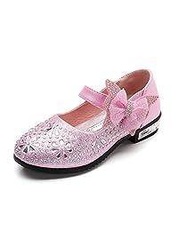 Toddler Girls Ballet Flats Glitter Ballerina Ribbon Bowknot Mary Janes Princess Dress Shoes