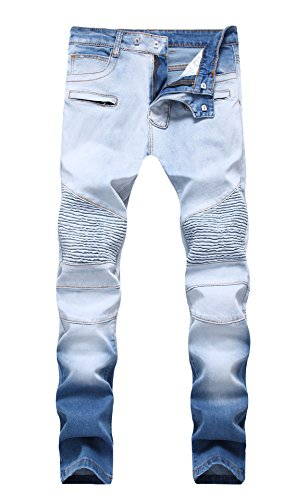 FEESON Men's Straight Leg Slimming Fit Distressed Loose Denim Jeans Washed Blue W34