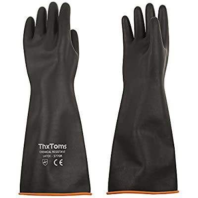 """ThxToms Heavy Duty Latex Gloves, Resist Strong Acid, Alkali and Oil, 18"""", 1 Pair"""