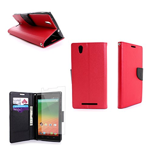 ZTE Zmax Wallet Phone Case and Screen Protector | CoverON (CarryAll) Pouch Series | Tough Textured Exterior (Red / Black) Flip Stand Cover with Credit Card and Cash Holder Slots for ZTE Zmax Z970