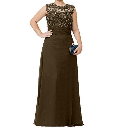 Perlen Promkleider Brautmutterkleider Partykleider Damen Chiffon Pailletten Dunkel Langes Abendkleider Charmant Braun mit H18fxA