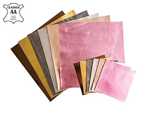 Leather Scraps Metallic Scrap Leather: Pre-Cut Genuine Leather Sheets for Crafts 5x5in, 6 Pieces