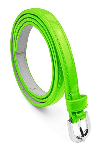 Women Dress Belt Silver Polished Buckle Bonded Leather Glossy Solid Color Skinny Belle Donne - Neon Green Large